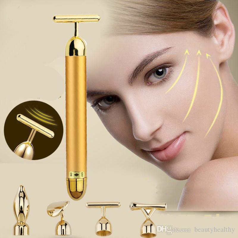 4 in 1 pelle del fronte di cura 24K oro Massaggiatore viso Energia Beauty Bar Dorato Bellezza attrezzature massaggiatore massaggio del viso faccia dimagrante