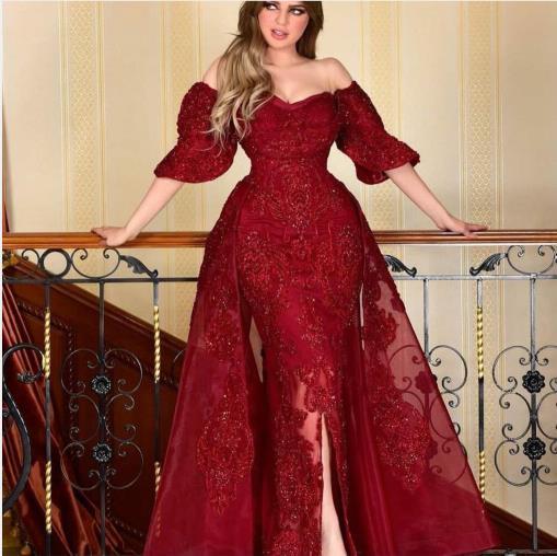 Evening dress Yousef aljasmi Labourjoisie Zuhair murad1 A-Line Bateau Short Sleeve Red Tulle Applique Split Front/Side Long Dress James_paul