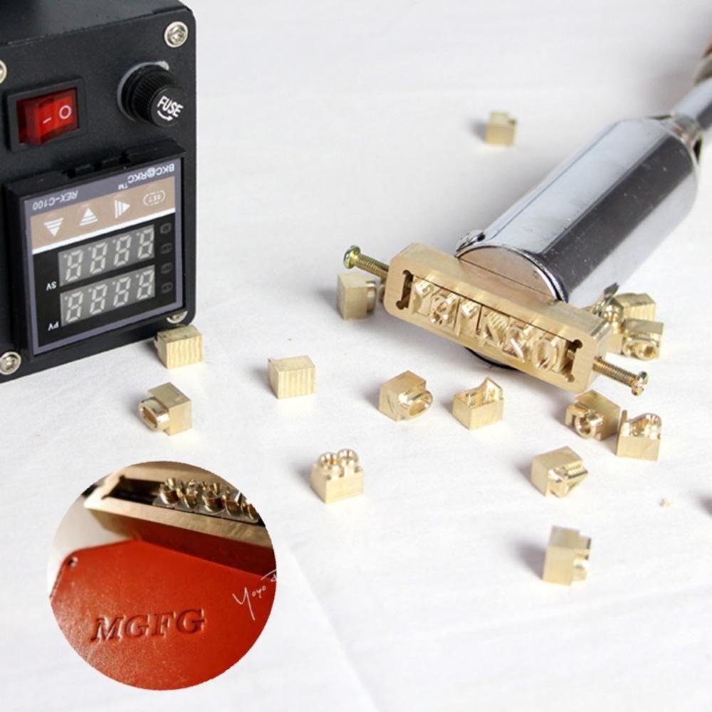 Carta Movable Latão molde Custom Logo alfabeto de símbolos Pressione Stamp Craving Ferramenta Branding Iron couro folha de madeira de bambu quente