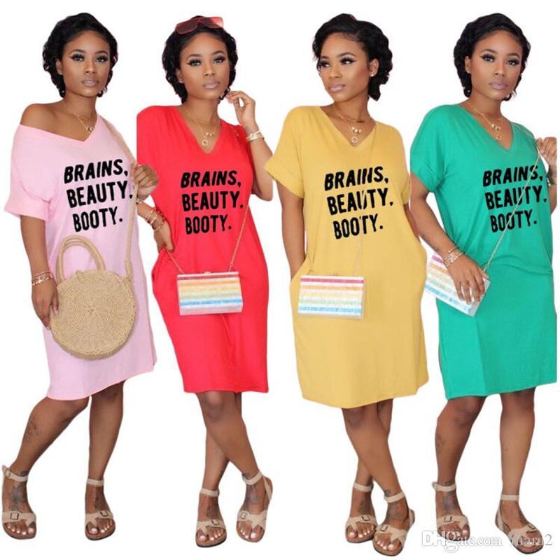 Loose Women T-shirt Abiti da S-2XL scollo a V Stampa Lettera di lunghezza del ginocchio abiti a maniche corte Abbigliamento casual Summer Long Tee Top 2889