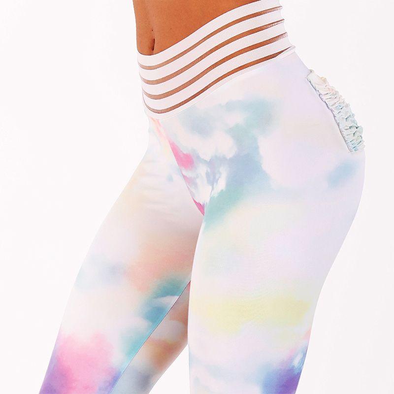 Sexy spinge verso Leggings donne fitness Leggings colorato stampato Leggings Mujer vita alta Workout Fold Leggins Femminile