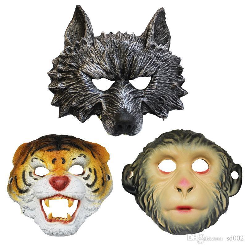 Máscaras assustadoras Halloween Tiger lobo macaco animal Peça Facial Halloween Costume Ball Bar Desempenho Decore Suprimentos Resiliência é bom 8lwC1