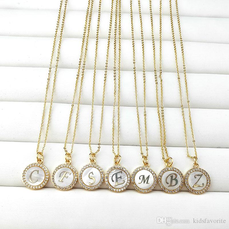 New Design Gold Color shell Charms pendant micro pave Crystal Cubic Zircon CZ 26 Alphabet letters necklaces Jewelry NK481