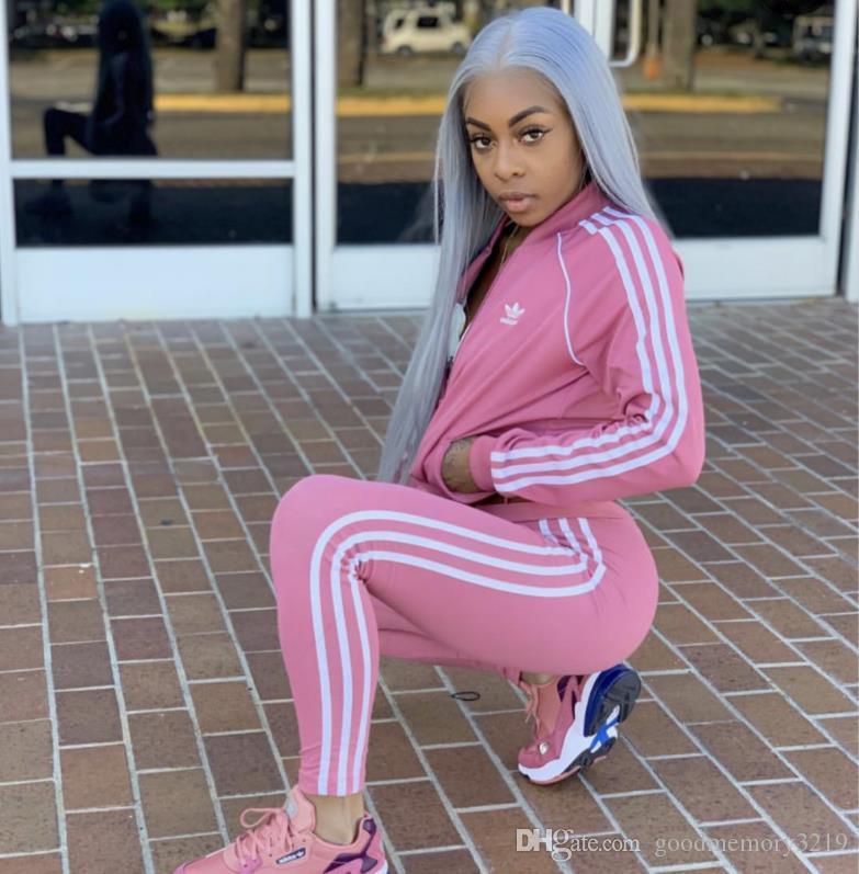 Mulheres Two Piece Set Sports terno Blusas femininas cintura alta calças compridas 2 PCS letra impressa moda primavera Treino Outono mulheres Vestuário