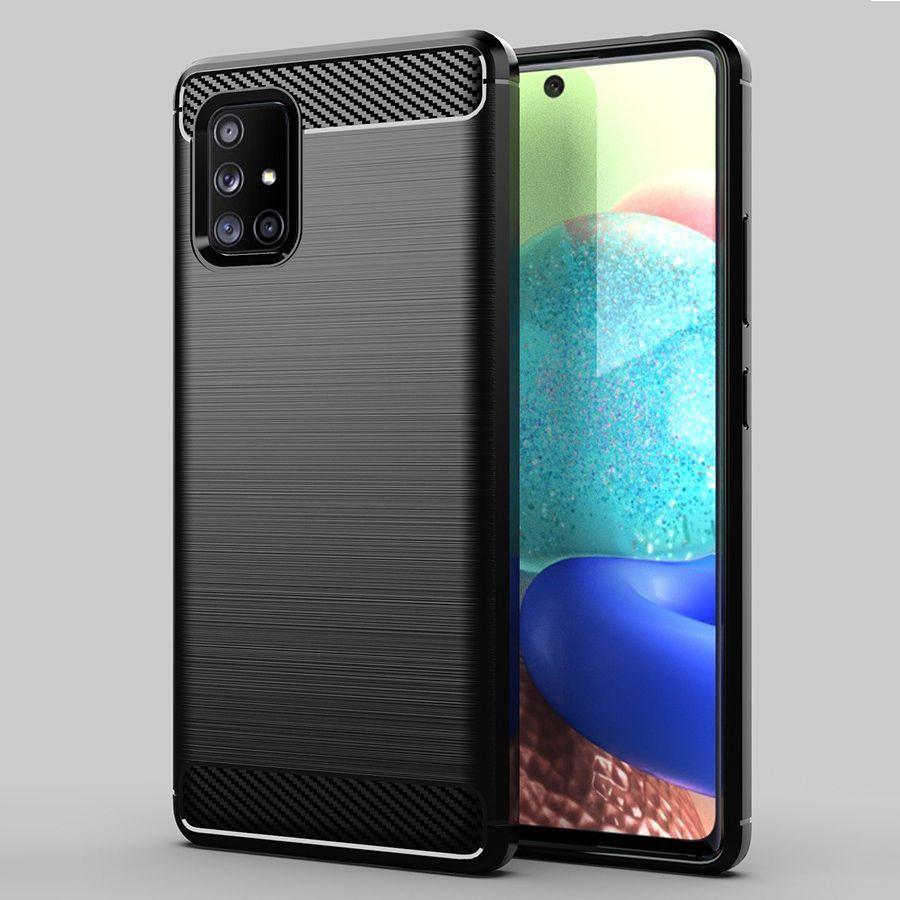 Funda de silicona a prueba de golpes textura de fibra de carbono cubierta protectora de ajuste delgado suave de TPU para Samsung Galaxy A51 5G, 5G A71