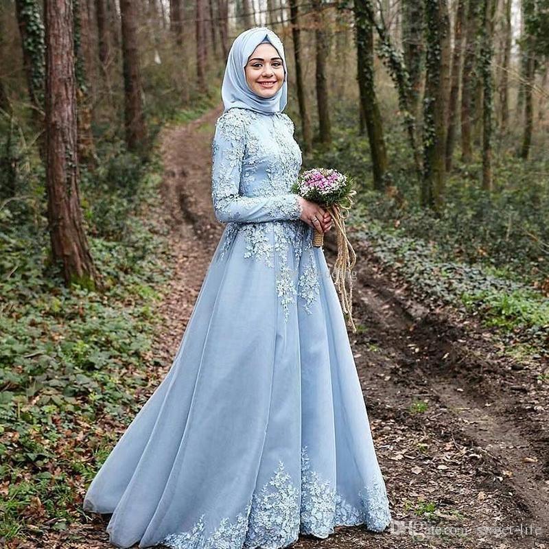 2020 vestido branco Dark Blue Long Sleeves Muslim A-Line Evening Dresses robe de soiree courte Hijab Turkish Evening Gowns Lace Custom Made