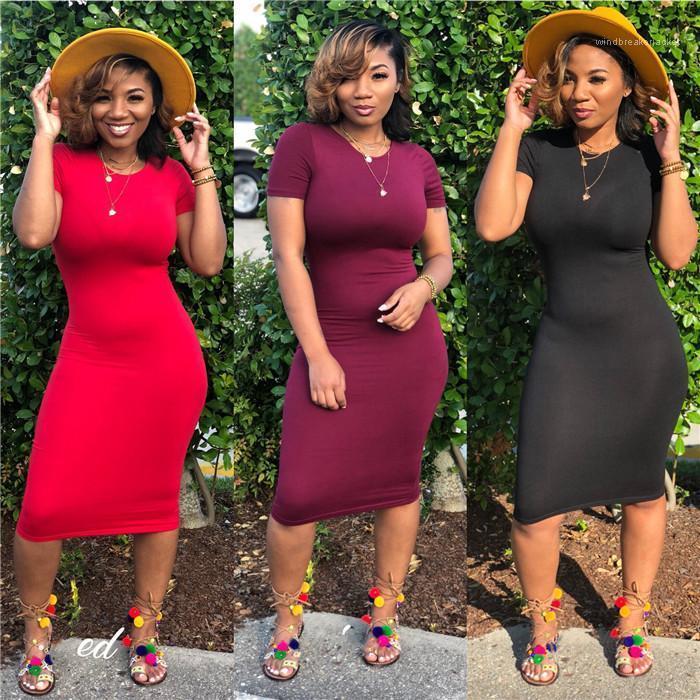 Дизайнер шеи линия способа сексуальная женщина одежда Повседневная одежда женщин Bodycon платья лета конструктора Crew
