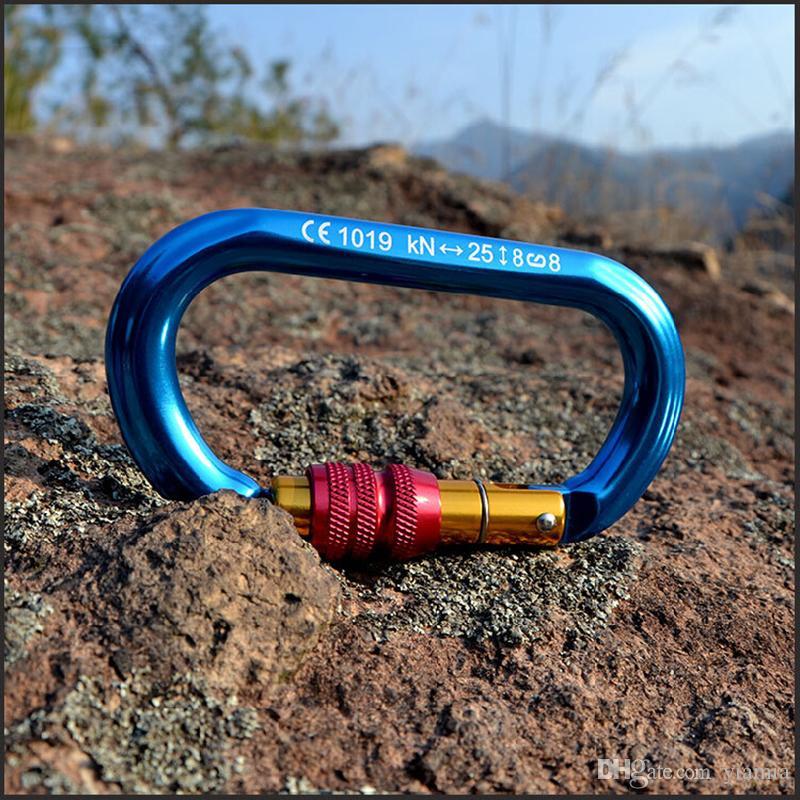 D Shape climbing carabiner Original Professional Outdoor Climbing lock Automatic carabiner Mountaineering buckle New