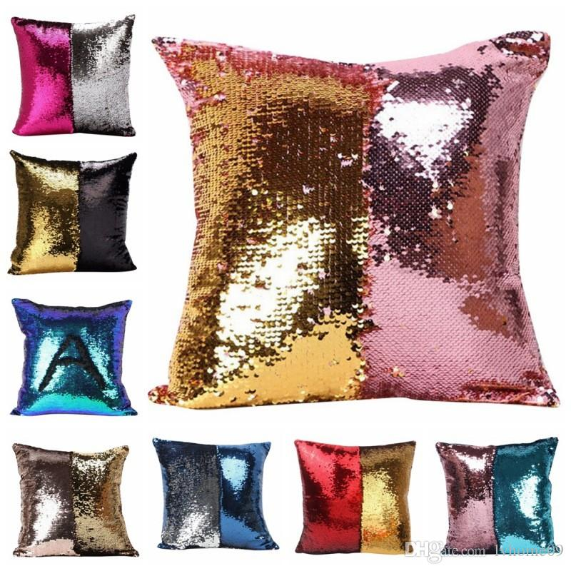 DIY Mermaid Sequin Cushion Cover Decorative Pillow Magical Throw Pillowcase 40X40cm Color Changing Reversible Pillosw Case For Home Seat Decor