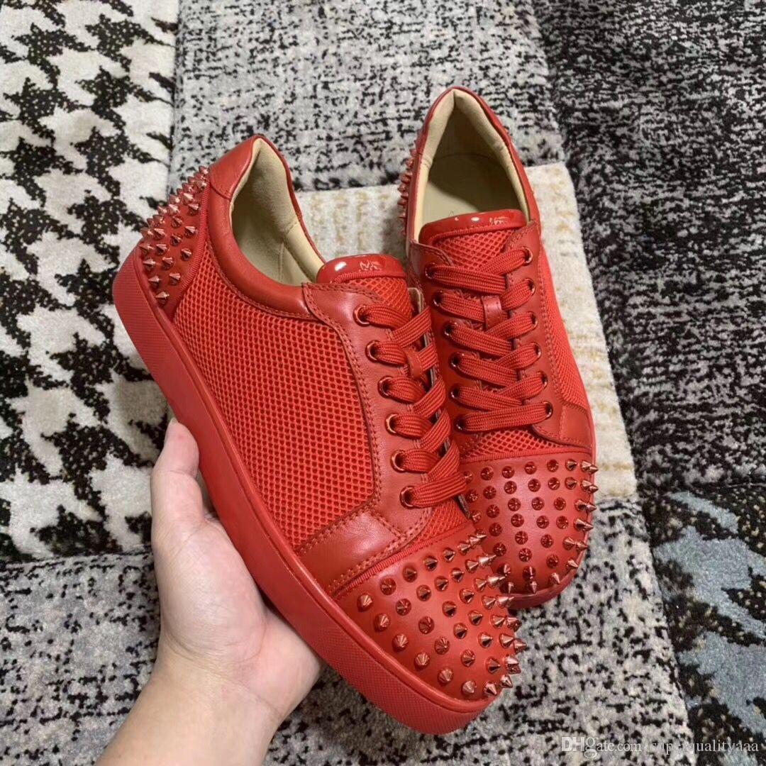 Ac Genç Spike Sneakers Özel high-end Perçinler Ile Son erkek Moda Kadınlar Için Kırmızı Alt Ayakkabı, Erkekler Mükemmel Parti Elbise