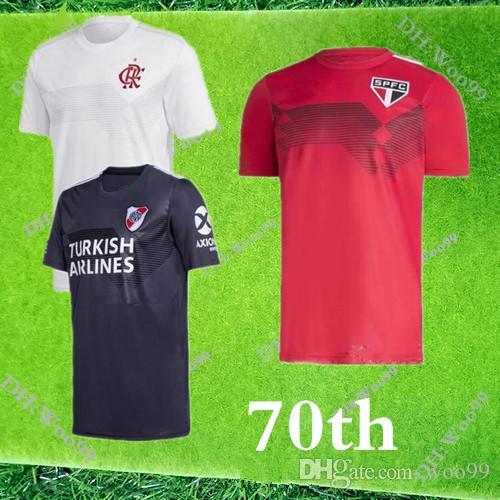2020 São Paulo River Plate Jersey 70 Anos de 3 listras de Futebol Dani Alves 19 20 Flamengo Branco E.RIBEIRO GUERRERO Football Shirt