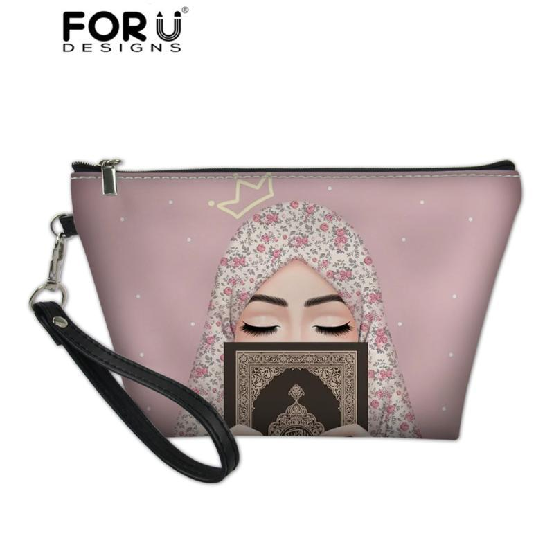 FORUDESIGNS femmes Sacs cosmétiques Hijab fille musulmane islamique arabe Mesdames yeux Gril Motif de mode Make Up Bag necessarie stockage