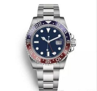 Nouveau Top Luxe Hommes Montres Hommes Pepsi Bleu Rouge Automatique Lunette Bleu Montre Glide verrouillage fermoir Bracelet sportiveLa vent Montres-bracelets 6584