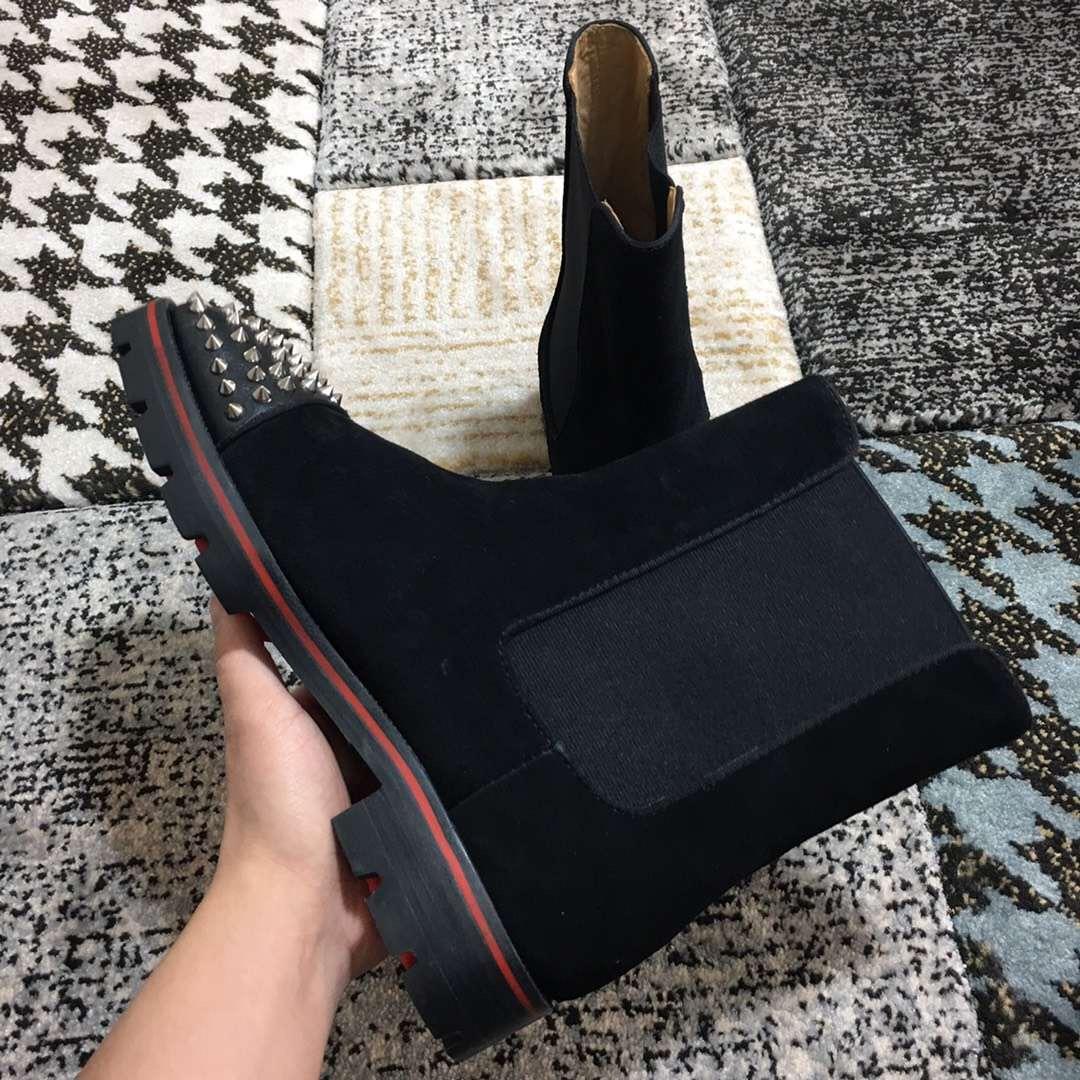 Calde di vendita-Red Stivaletti inferiore per gli uomini Spikes le dita dei piedi di alta qualità 2018 di lusso della calzatura Slip On Wedding Booties festa all'aperto