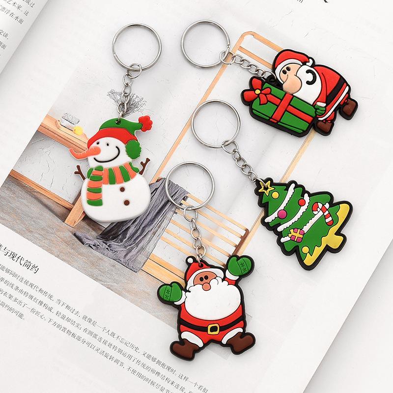 Noel Baba Karikatür Anahtarlık PVC Yumuşak Anahtarlık Karikatür Anahtar kolye Yaratıcı Anahtar Noel için Zil Küçük Hediye.