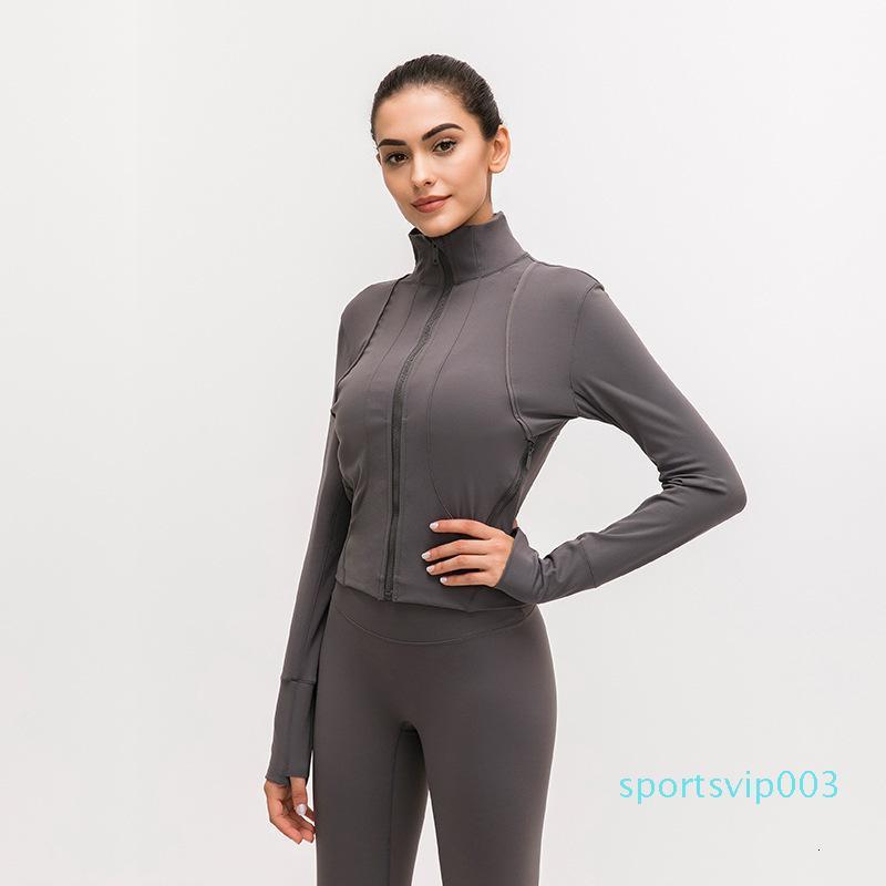 Avant fermeture Splice veste de course LU-91 femmes manteau sport à manches longues Yoga Veste élastique mince Yoga Top femmes Chemise sport