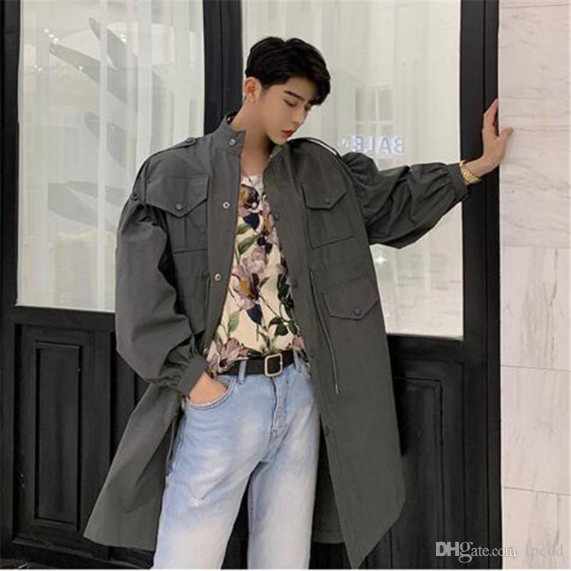 pocket cargo coat men casual loose collar vintage trench coat mens waist drawstring male clothes punk rave rib sleeve overcoat man casacos