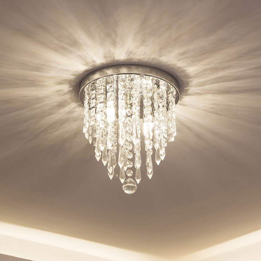 Modern Mini Kristal Avize Aydınlatma 2 Işıkları Gömme Montaj Tavan Işık H10.4 '' x W8.66 '' Yatak Odası Koridor Bar Mutfak Banyo için