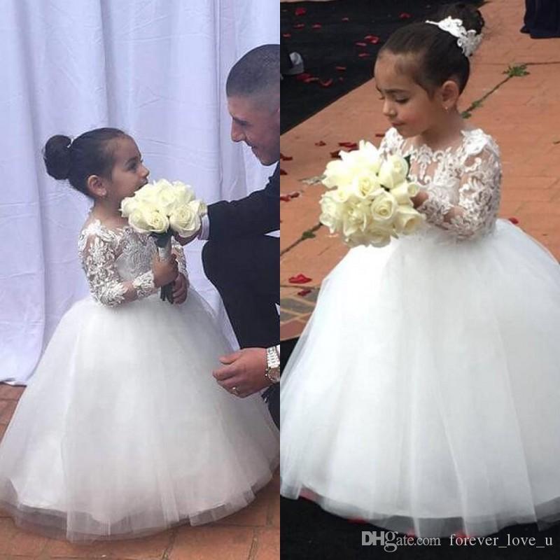 2019 neueste nette Juwel Blumenmädchen Geburtstag Kleider Ballkleid Sheer Neck Langarm mit Spitze Applique Kinder Mädchen Pageant Kleider