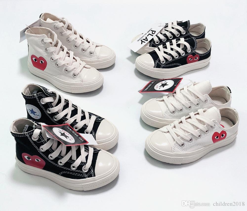 Designer All-Star 70er Jahre Hallo C-D-G SPIELEN Kinder Schuhe für Mädchen Jungen Segeltuchschuhe Hohe Qualität Weiß Schwarz Kleinkind Kinder Turnschuhe Größe 23-35