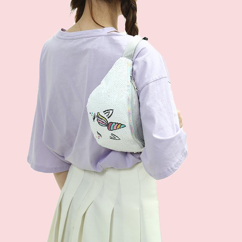 filles de bande dessinée sac de ceinture 2019 paillettes glitter femmes sac banane sac licorne impression poche décontractée sacs banane poitrine épaule