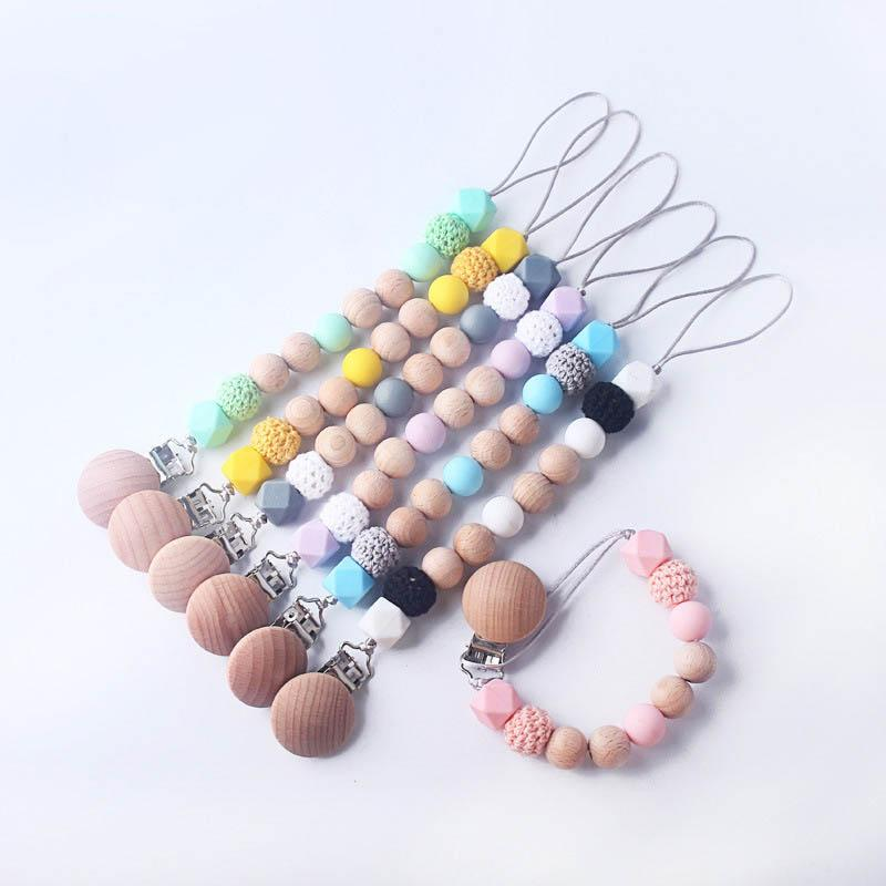 Infant Baby Pacifier Holder Clip Chain Silicone Bead Dummy Nipple Teether Strap