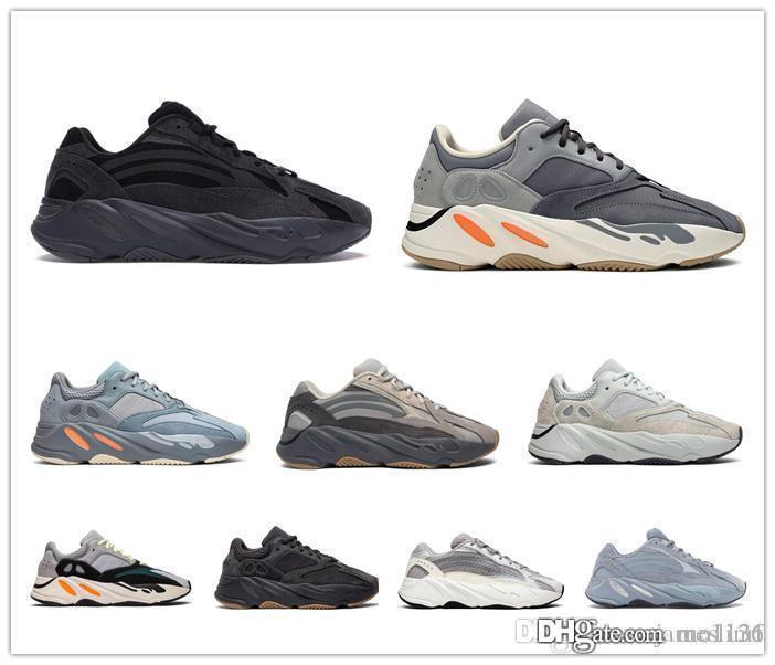 oeste 700 hombres zapatos de las mujeres originales Kanye 3M reflectantes moto acuática zapatillas de deporte para hombre de la moda del Hospital entrenadores azul del trullo imán de utilidad negro