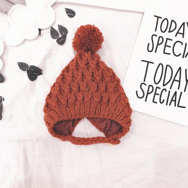 Nuovi bambini di stile cappello di lana lavorato a maglia piccola sfera Bambini Cappellini 5 colori Accessori Ragazza di inverno Hook Babies Fiore caldo tutto Partita Cap