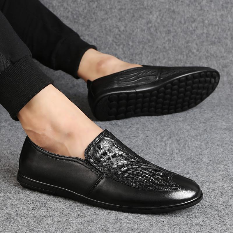 الرجال الأحذية الجلدية عارضة الرجال في فصل الشتاء أحذية جلدية حقيقية للتنفس مريحة للذكر Footear متعطل ذكر شقة هومبر * 2088