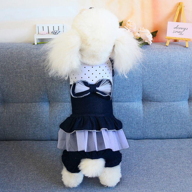 Vestimenta De Malha De Moda Princesa Saias Personalidade Nó De Laço De Gato Saia De Cão Bonito Teddy Bulldog Schnauzer Vestimenta De Animal De Estimação