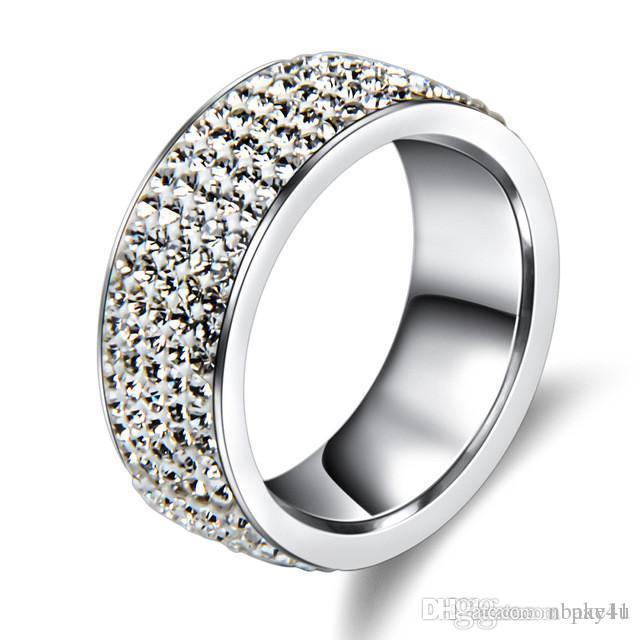 High Fashion Pay4U 5 lignes Cristal Bague en acier inoxydable pour femmes élégant doigt pleine de mariage d'amour Bagues de fiançailles Bijoux hommes Nouvelle mode
