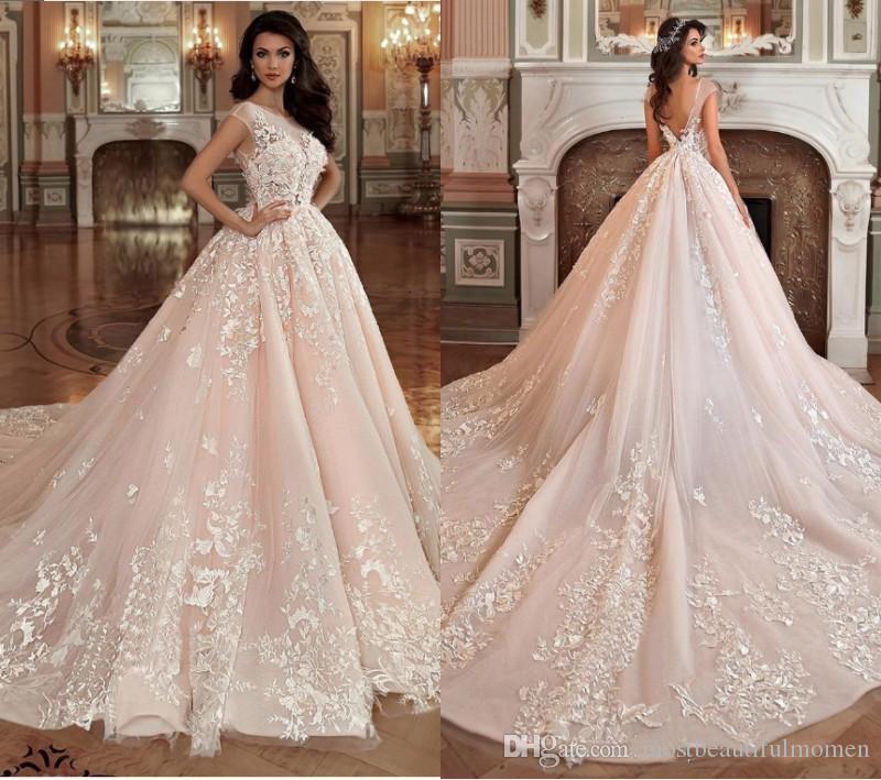 2020 Splendida Blush Pink Abiti da sposa abito di sfera Sheer collo 3D Fiori V Indietro merletto Appliqued Abiti da sposa