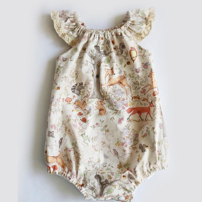 طفلة رومبير الصيف لطيف الرضع حديثي الولادة طفل بنات الرباط الزهور دير الطباعة السروال القصير طفلة الملابس وبذلة ملابس أطفال B11