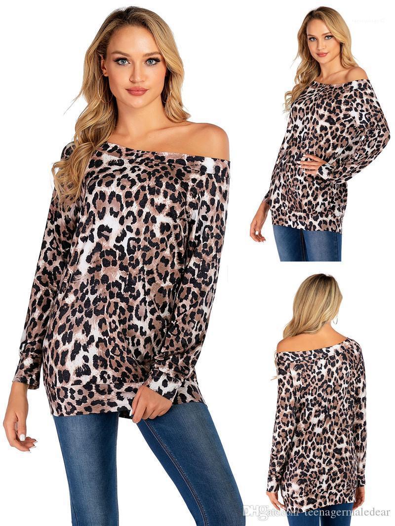 Gömlek Leopar ve Ekose Baskılı Sonbahar Casual Seksi Uzun kollu Bir Omuz T Shirt Bayan Moda Tees Kadın Tasarımcı T