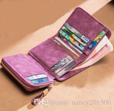 Бесплатная доставка новый дизайнер бренд натуральная кожа женщины бумажник короткий бумажник мода классический бумажник