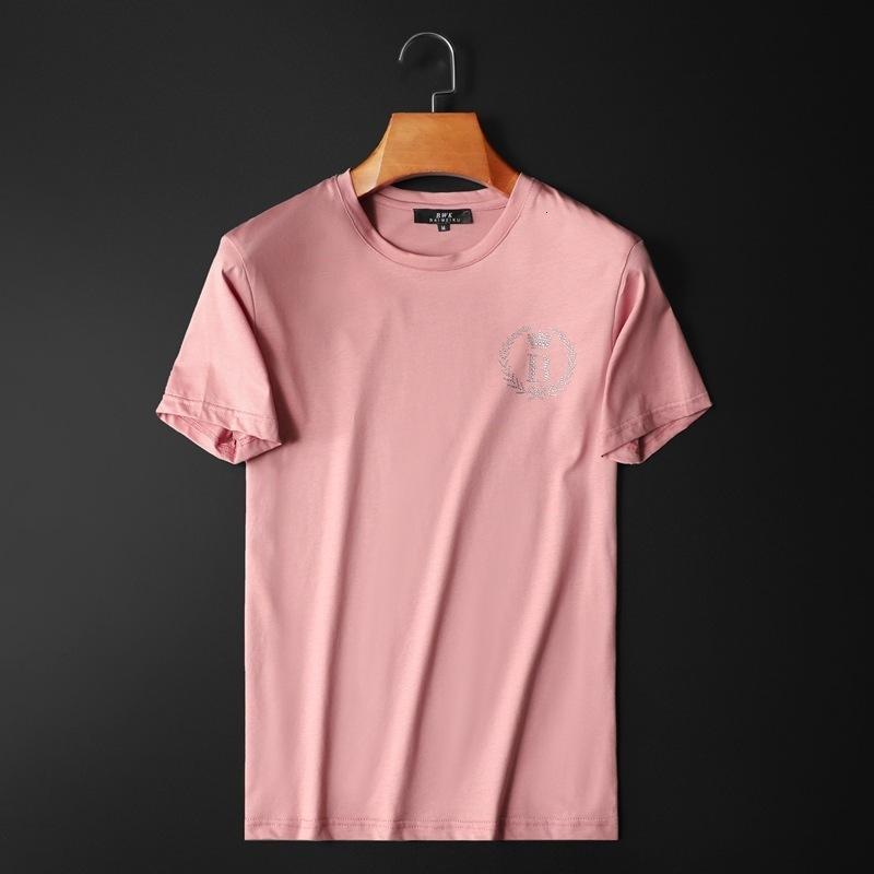 2020 hombres de alta calidad de manga corta de la moda de verano la camiseta cómoda alrededor del cuello de la ropa de moda camiseta informal aora