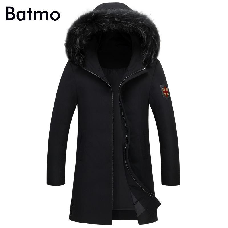 Batmo 2018 nuovo inverno mantenere caldo piume d'anatra bianca nera con cappuccio da uomo giacca lunga, cappotto M da uomo invernali, L, XL, 2XL, 3XL, 7813