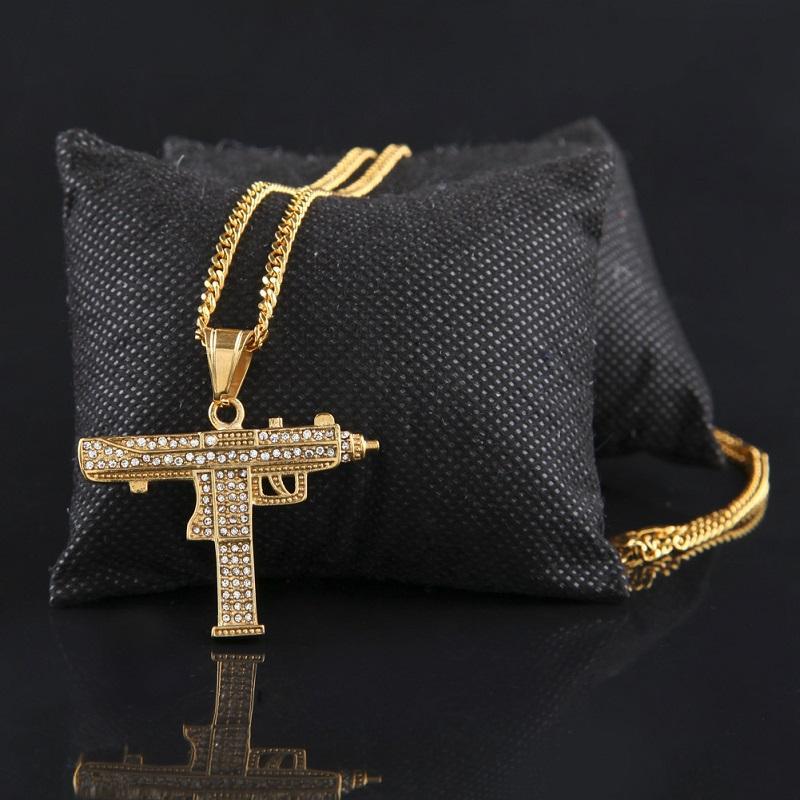 Gioielli Collana Hop Cubano di collegamento Fashion-Catena Shape della pistola della pistola del pendente della collana per i Mens di Hip