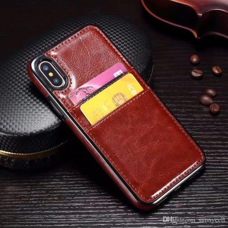 Para huawei p8 p9 p10 lite plus honor 7 9 mate 10 pro pc tpu titular do cartão de couro sintético do vintage slots de design do telefone case capa