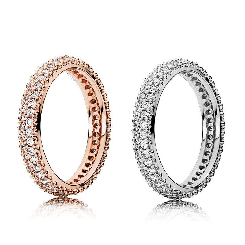 Neue Art und Weise zweireihig Diamant-Ring CZ-Diamant-Set Original Kasten für Pandora 925 Sterlingsilber-Dame-Ring-