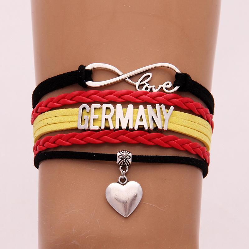 Infinity Love Germany Bracelets Bangles Heart Charm Braided Pu Leather Bracelet Nicely Jewelry Men Women Drop Shipping