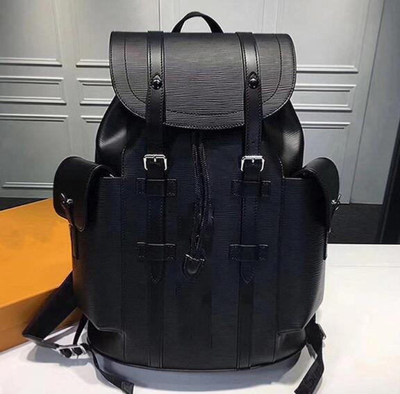 Diseñador de alta calidad de cuero Mochila de viaje de calidad auténtica 35x12x45 cm Volver Bolsas paquetes escolares Hombres Mujeres Mochilas