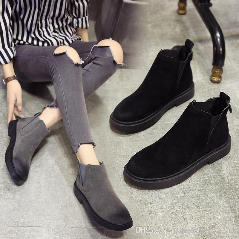Winter Flat Chelsea Boots Women Short Plush Warm Winter Shoes Women 2019  Autumn Black Motorcycle Ankle Boots For Women Botines Mujer Cat Boots Shoe