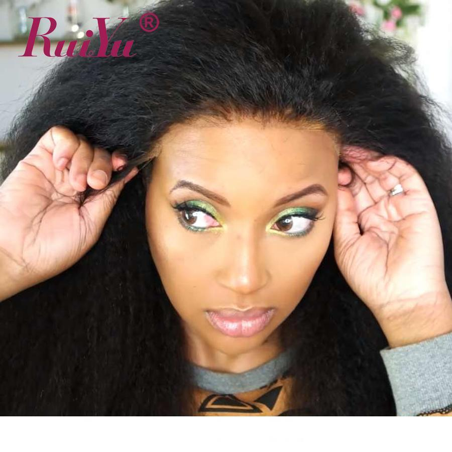 Diritta crespa parrucche piene del merletto italiano Yaki dei capelli umani del merletto per il nero delle donne Gluesless mongola del merletto Pre pizzico Linea sottile naturale