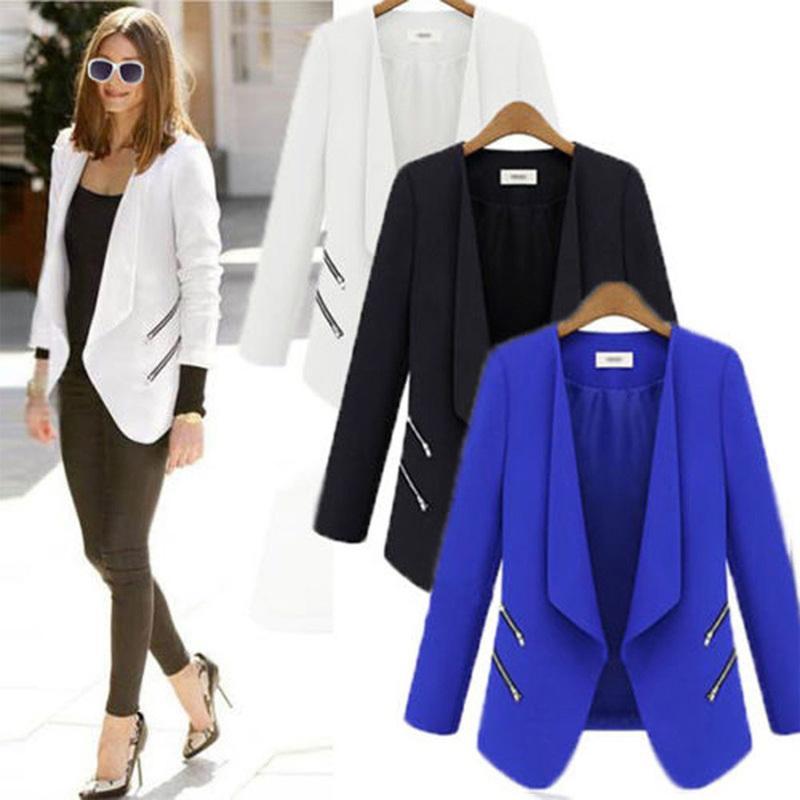 포켓 우아한 긴 소매 여성 자켓과 ZOGAA 여성 정장 재킷 레이디 오피스 캐주얼 얇은 카디건 코트 솔리드 슬림핏 자켓