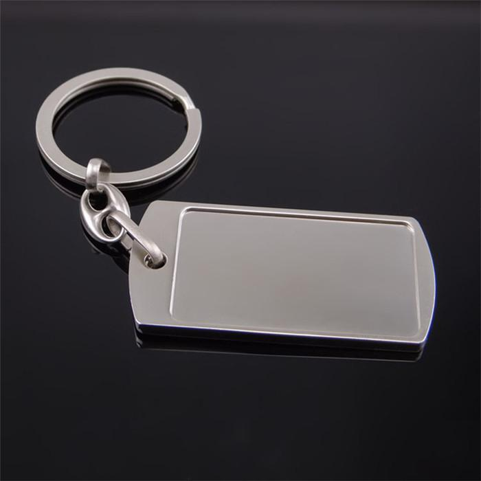 Hot Sale Silver Rectangle Keychain Zinc Alloy Blank Keyrings Car Key Holder Key Pendant Trinket Women Men Business Gifts Accessories H844R F