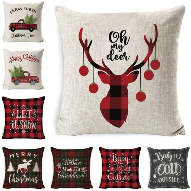 Christmas Pillow Case Plaid Linen Throw Pillow Covers Square Sofa Decorative Pillow Headrest Cushion Cover Xmas Pillowslip Home Decor DHC35