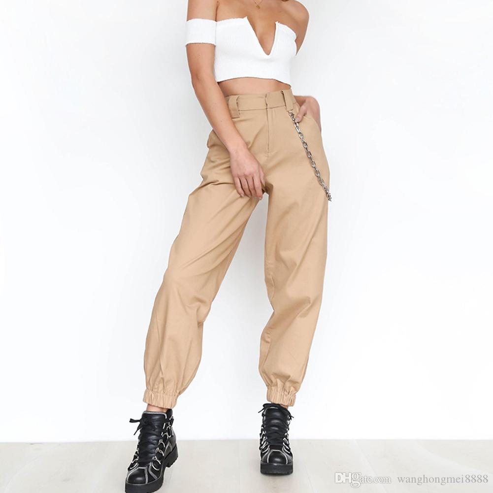 느슨한 여성 쿨 댄스 힙합 바지 높은 허리 카고 바지 바지 군사 육군 전투 하이킹 여성 패션 긴 바지