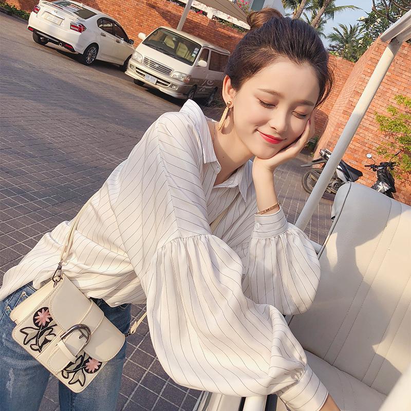 Mishow Kadın Gömlek Uzun Kollu 2020 Sonbahar Ofis bayan Fener Kol yaka gündelik Gömlek kısın Bahar MX17D4546 Tops