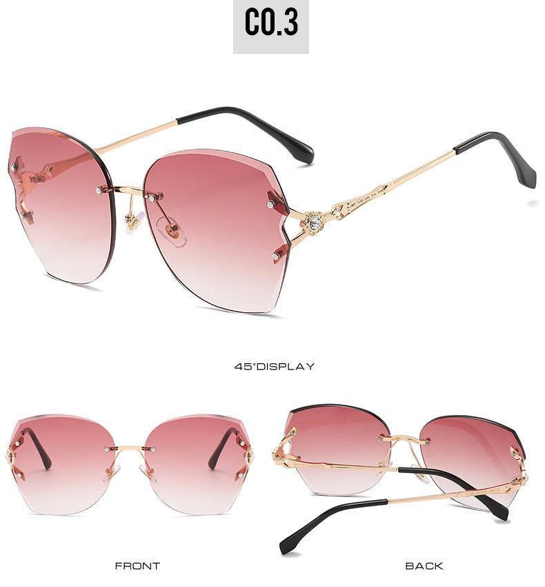 Senza telaio sunglasse nuovo arrivo 2019 senza telaio occhiali in Mens degli occhiali da sole donne metallo pendenza della pagina oversize Goggle all'ingrosso 5555 fZX52